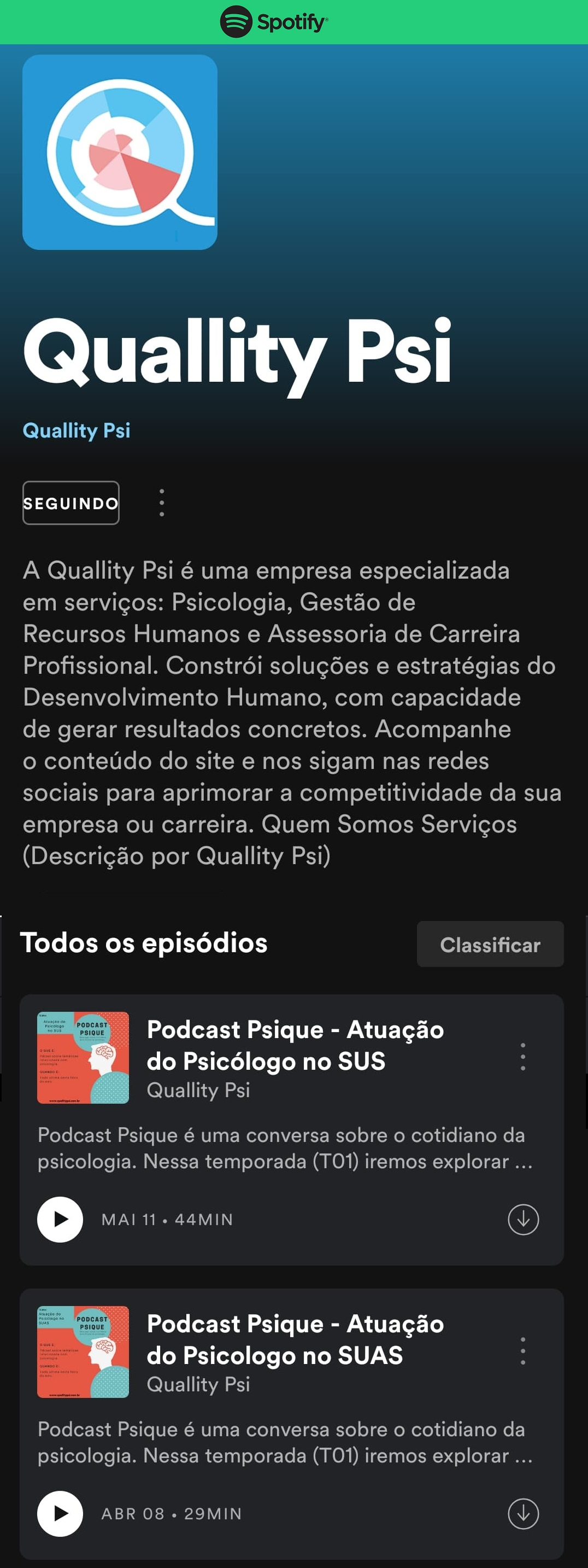 Quallity Psi - Podcast Psique no Spotify