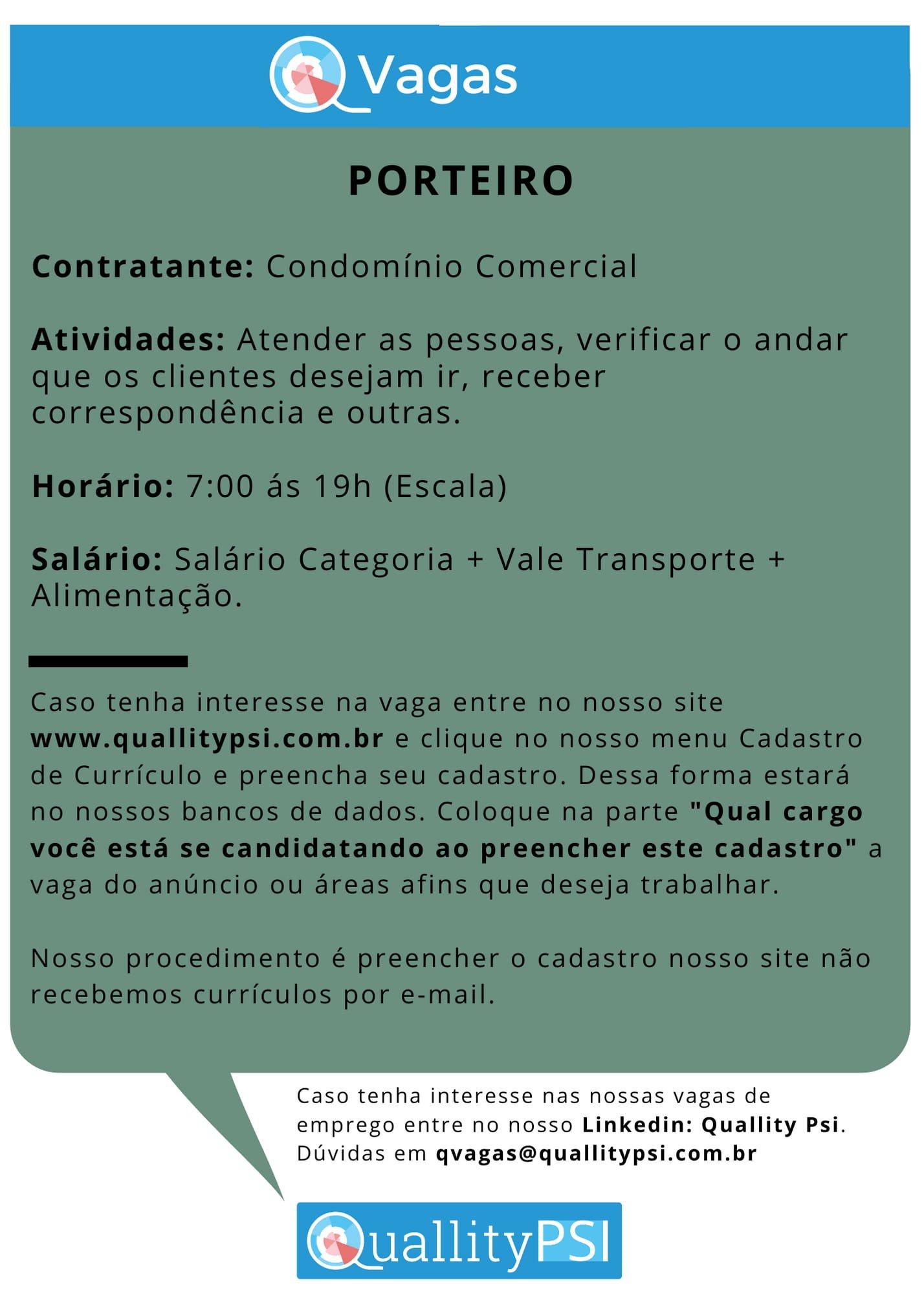 118946825 1306986519669138 751391151357879681 o - QVagas: Porteiro